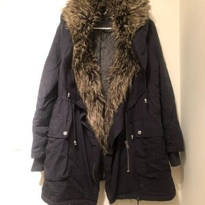 Free people parka in navy blue
